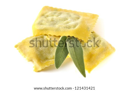 Ravioli, italian egg pasta filled with ricotta and spinach - stock photo
