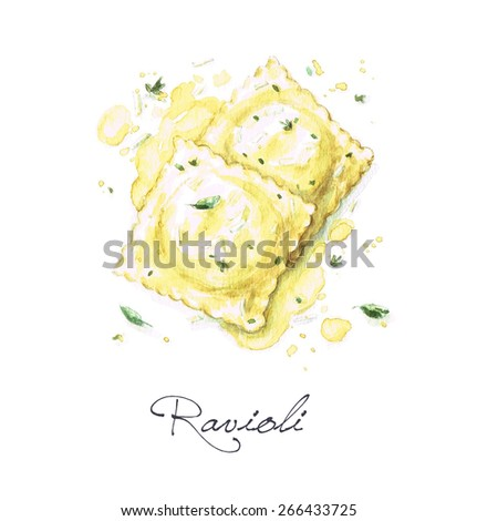 Ravioli - Watercolor Food Collection - stock photo