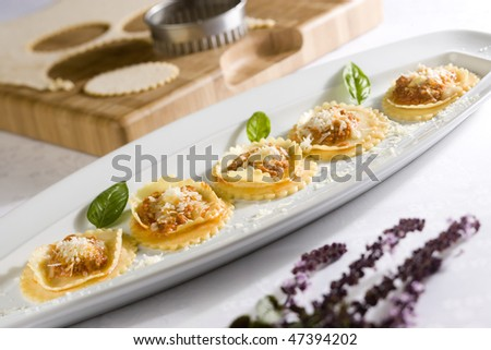 Ravioli with meat - stock photo