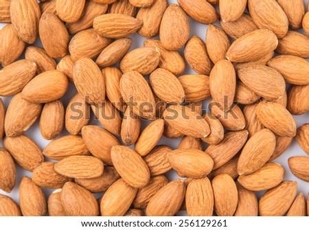 Raw almond nut close up view - stock photo