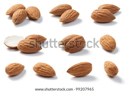 Raw Almonds isolated on white background.