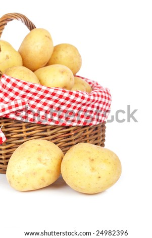 Raw and fresh potatoes in the basket, isolated on white background - stock photo