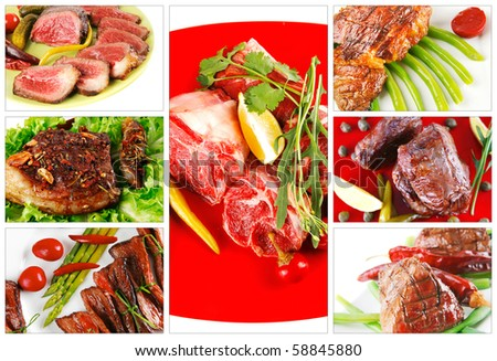 raw and roast meat sets on white - stock photo