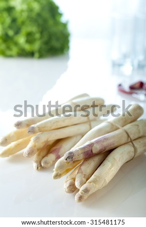 raw asparagus - stock photo