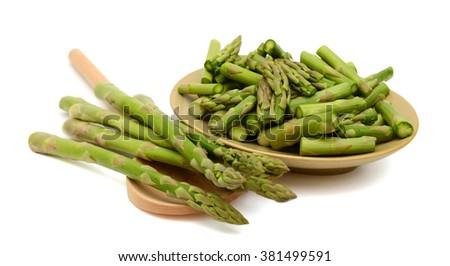 raw asparagus on white background  - stock photo