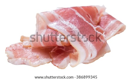 Raw Bacon isolated on white background (close-up shot) - stock photo