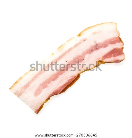Raw bacon meat isolated on white background