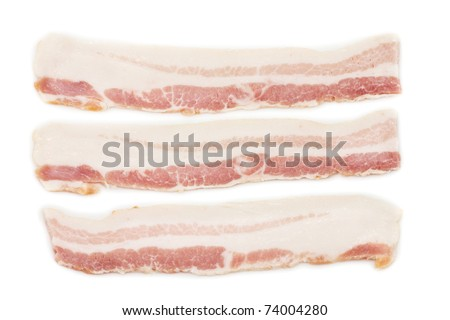 Raw Bacon on white isolated - stock photo