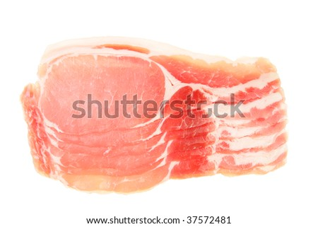 Raw bacon rashers isolated on white