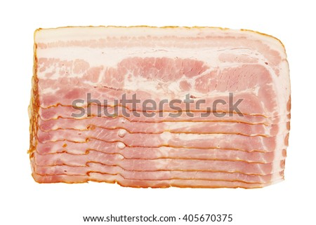 raw bacon slices isolated on white - stock photo