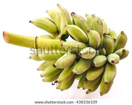 Raw banana isolated on white background  - stock photo