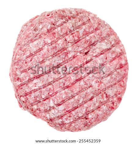 Raw beef burger isolated on white - stock photo