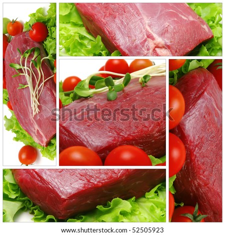 raw beef chunk with tomatoes on white - stock photo