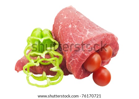 Raw beef, green pepper, tomatoes isolated on white - stock photo