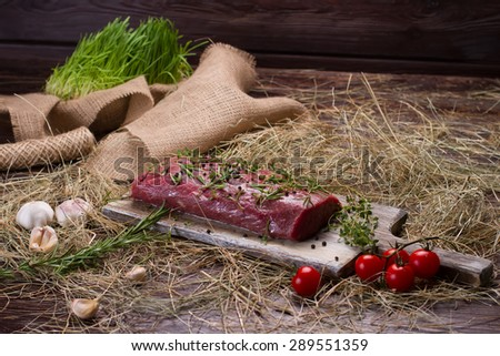 Raw beef marinated in spices. Meat with tomatoes and garlic on the hay. - stock photo