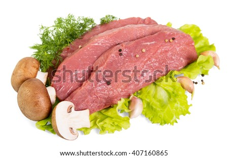 Raw beef meat, mushrooms, herbs and spices isolated on white background. - stock photo