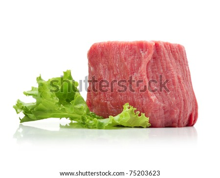 raw beef meat with lettuce - stock photo