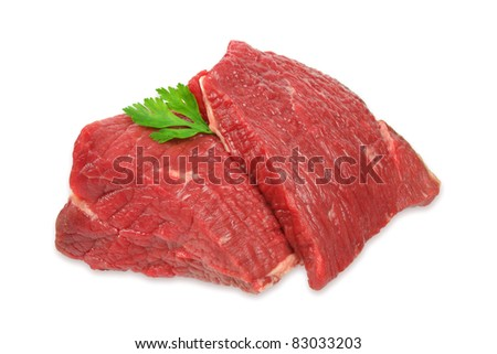Raw beef meat with parsley leaf isolated on white background