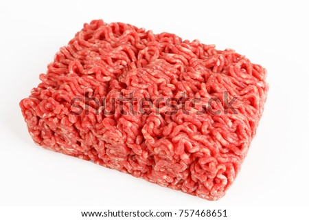 raw beef minced meat with white background