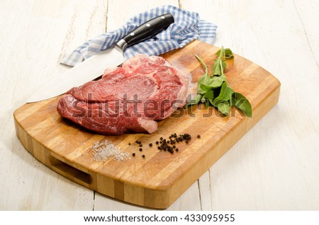raw beef shoulder on wooden board with sage, salt and peppercorn