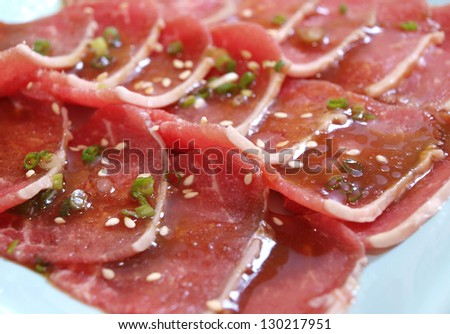 Raw beef slice prepare for cooking