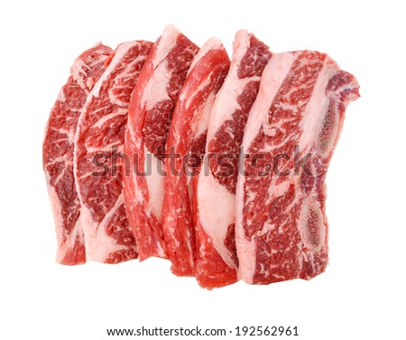 Raw Beef spare ribs  - stock photo