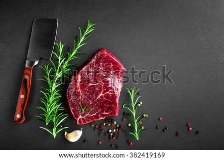 raw beef steak - stock photo