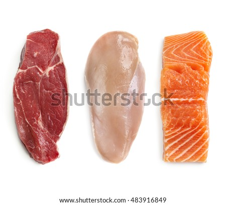 Raw beef steak, chicken breast, and salmon, isolated on white.  Top view.  Lean proteins.