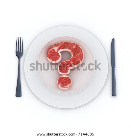 Raw Beef steak in the shape of a question mark served in a plate - stock photo