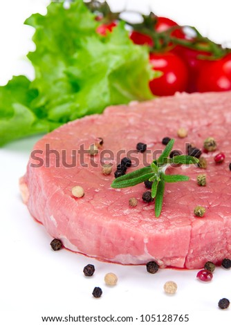 Raw beef steak on a white background - stock photo