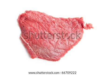 raw beef steak on white background - stock photo