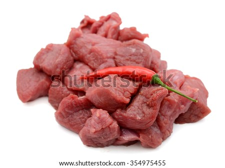raw beef tenderloin chopped on white background