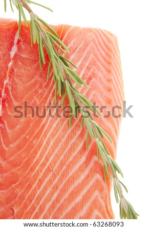 raw big salmon bar and rosemary over white background - stock photo
