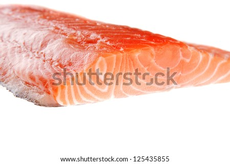 raw big salmon bar over white background