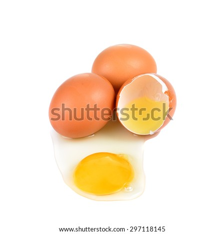 Raw broken egg on white background