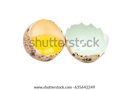Raw broken quail egg isolated on white background