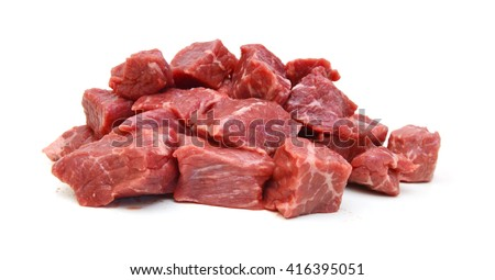 Raw casserole or stewing beef diced. - stock photo