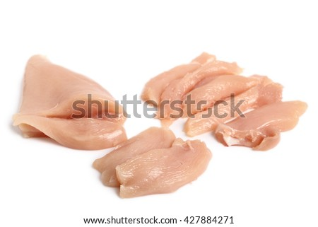 Raw chicken breast fillet and strips. Isolated on a white background - stock photo