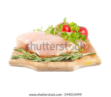 Raw chicken breast fillets. Culinary cooking ingredients.  - stock photo