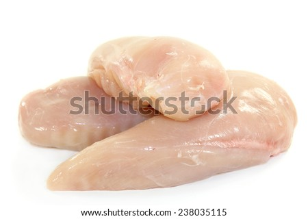 raw chicken breast fillets in front of white background - stock photo
