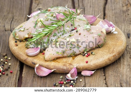 Raw chicken breast fillets with herbs and spices