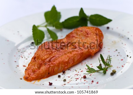 Raw chicken Breast,marinated - stock photo