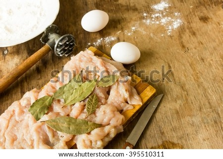 raw chicken fillet  eggs  and flour  - stock photo