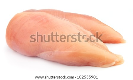 raw chicken fillets close up on white - stock photo