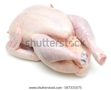 raw chicken isolated on white background - stock photo