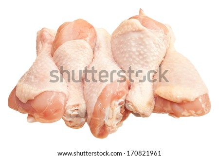 Raw chicken legs, isolated on white background  - stock photo