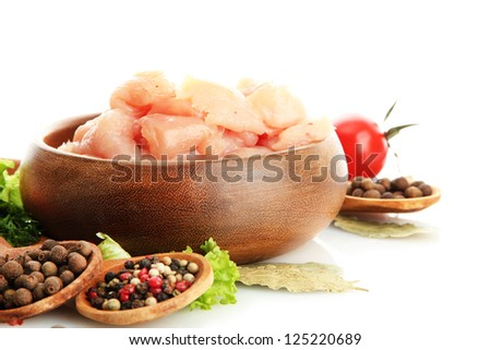 raw chicken meat in bowl, isolated on white - stock photo
