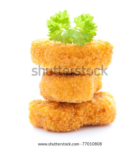 raw chicken nuggets stacked isolated on white background - stock photo