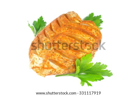 raw chicken with parsley on white  background - stock photo