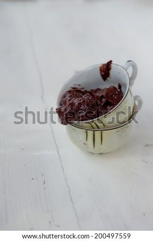 Raw chocolate pudding - stock photo